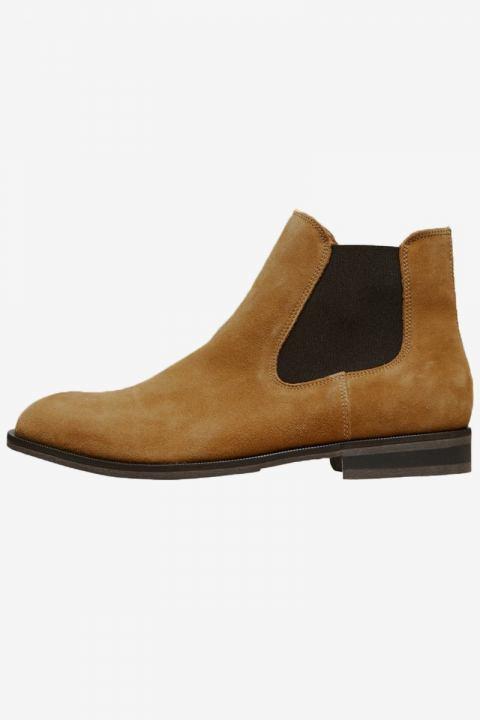 Selected Louis Suede Chelsea Boots Cognac