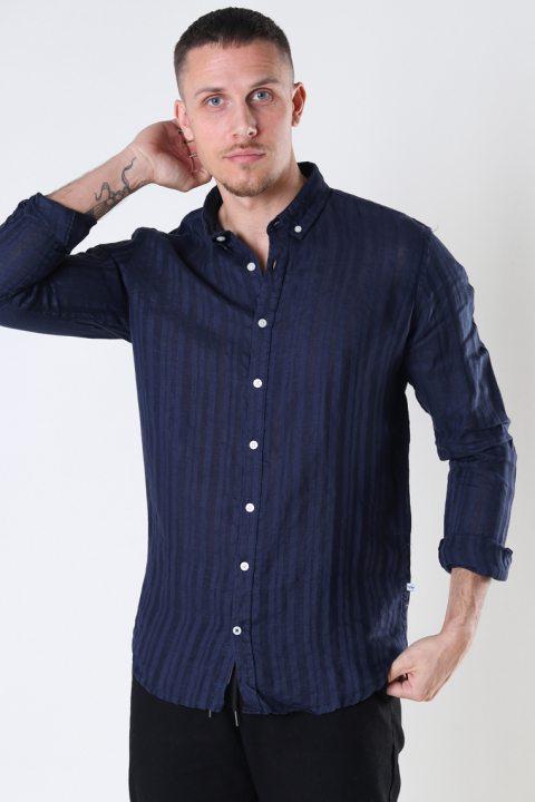 Kronstadt Johan Linen stripe shirt Navy