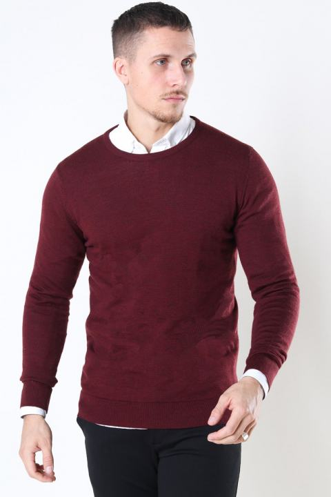 Clean Cut Merino Wool Crew Strik Bordeaux Mel