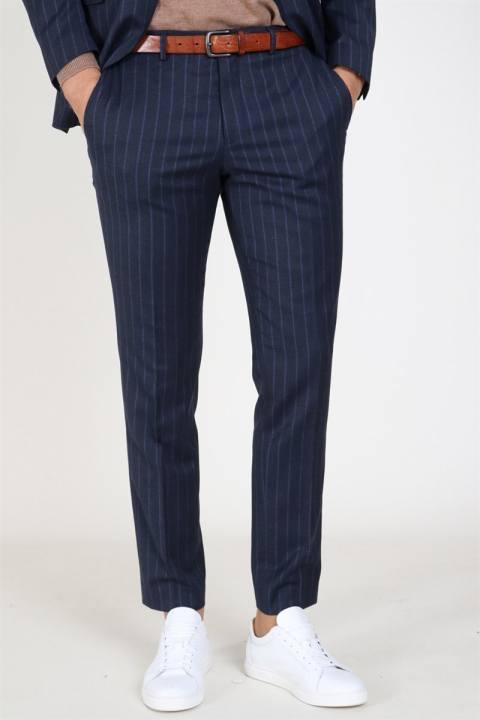 Køb Selected Slim Aden Stripe Bukser Grey/Blue