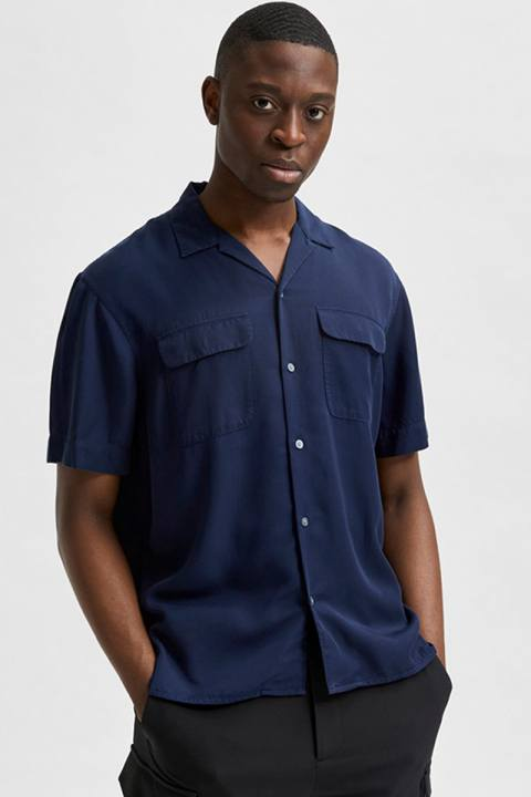Selected SLHRELAXBILL SHIRT SS G Peacoat