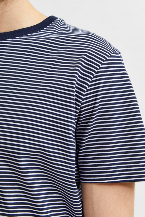 Selected SLHNORMAN180 STRIPE SS O-NECK TEE W NOOS Navy Blazer Bright White