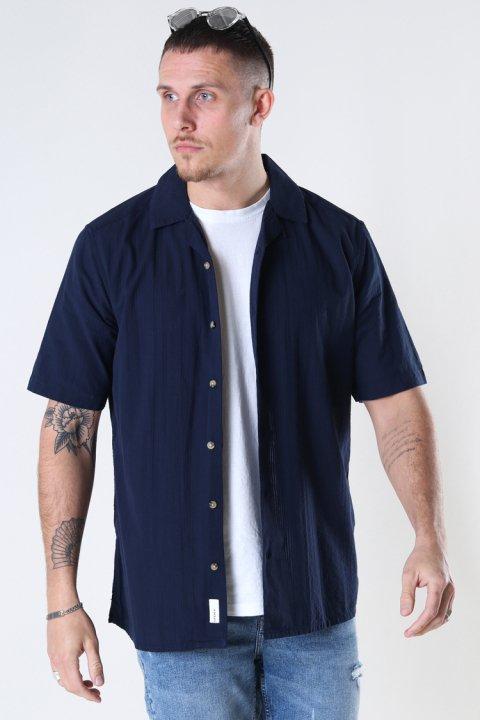 Only & Sons Onssteve Life Ss Seersucker Reg Shirt Dark Navy