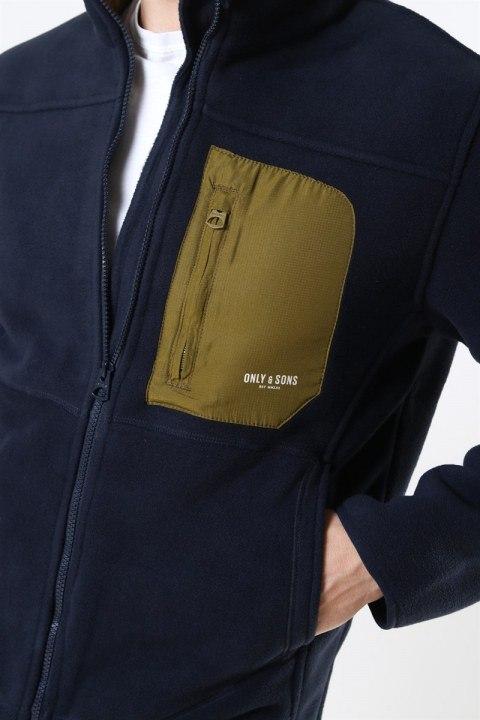 Only & Sons Hike Fleece Jacket Dark Navy/Fire Green