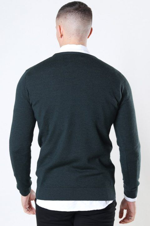 Clean Cut Merino Wool Crew Strik Bottle Green