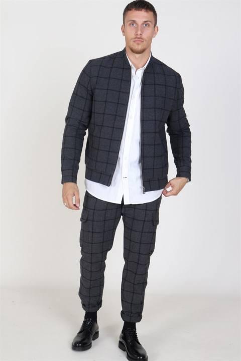 Les Deux Como Wool Check Bomberjakke Charcoal/Black
