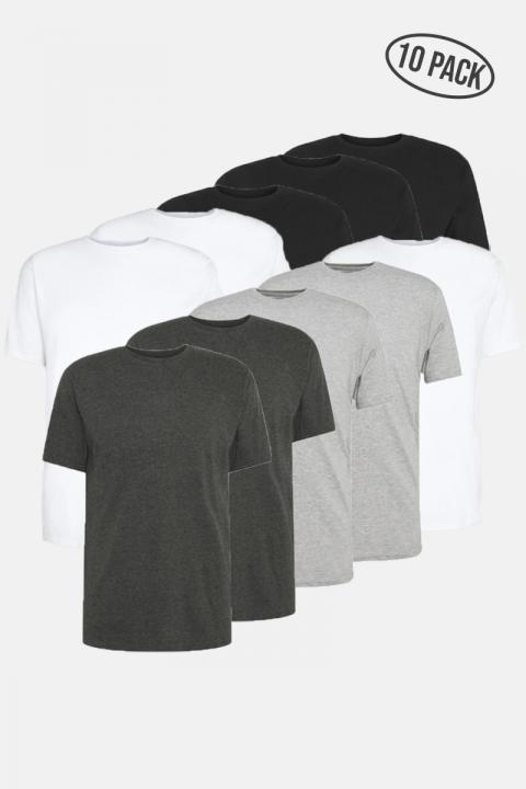 Denim project DP Longy Tee 10 Pack 3 Black/ 3 White/ 2 DGM / 2 LGM