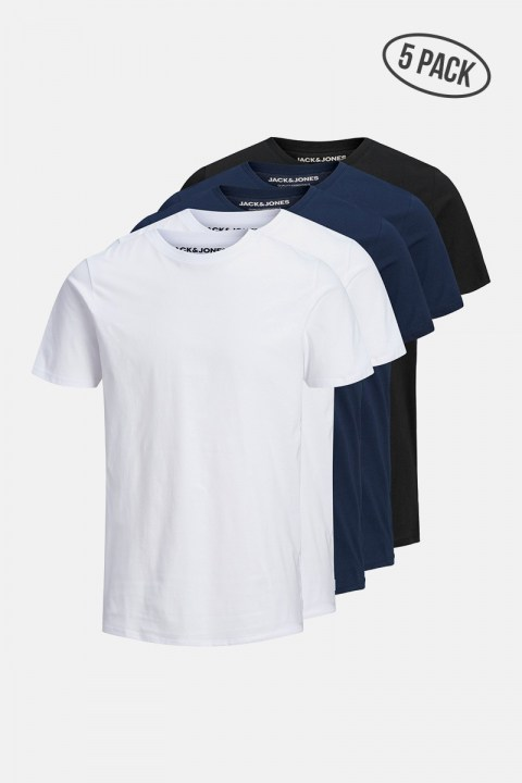 Jack & Jones JJEORGANIC BASIC TEE SS O-NECK 5PK MP BLK NAVY WHT