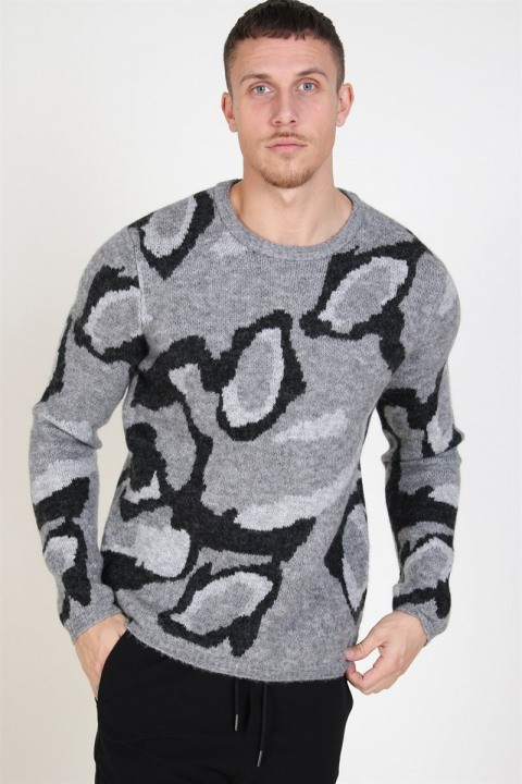 Image of Jack & Jones Dark Crew Neck Strik Dark Grey Melange (1574250552-S)
