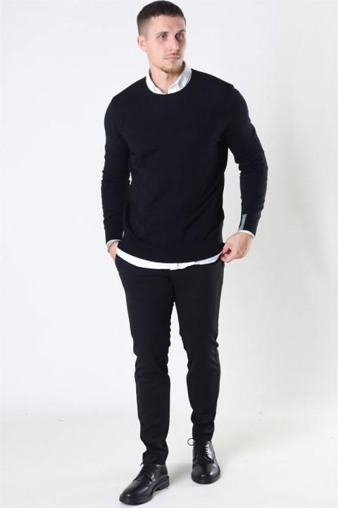 Mos Mosh Adam Supima O-Neck Knit Black
