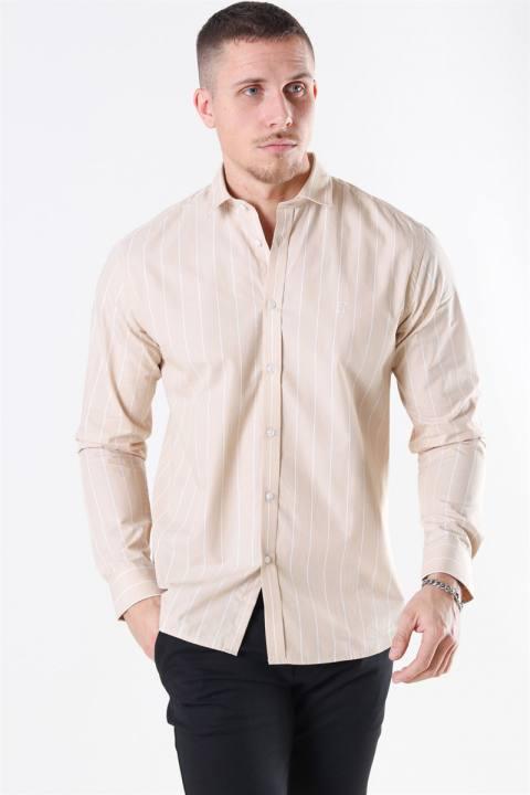 Les Deux Ramon Stripe Skjorte Khaki/ White