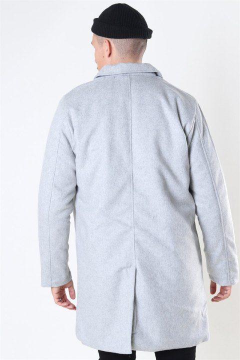 Denim Project Uldfrakke Light Grey Melange