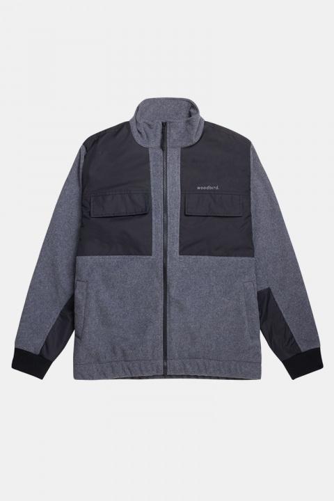 Woodbird Strukt Zip Fleece Dark Grey