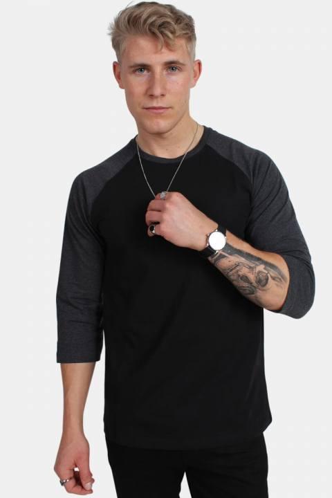 Raglan 3/4 sleeve Blk/Cha