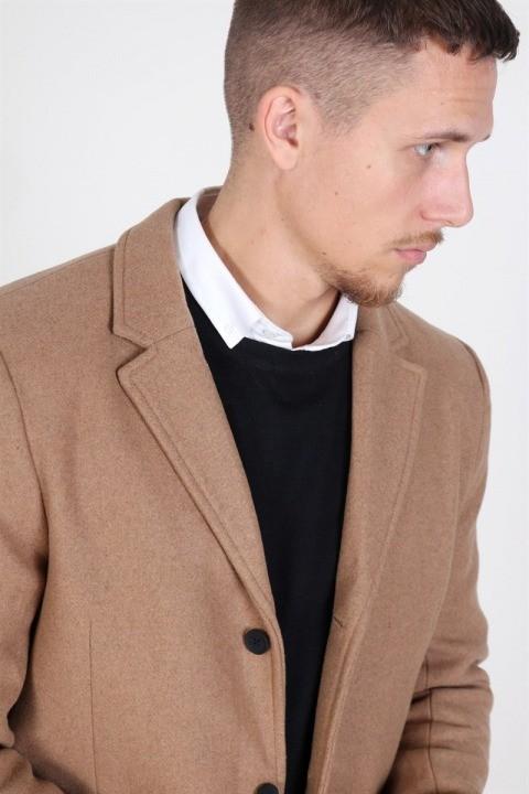 Only & Sons Julian Solid Wool Uldfrakke Camel