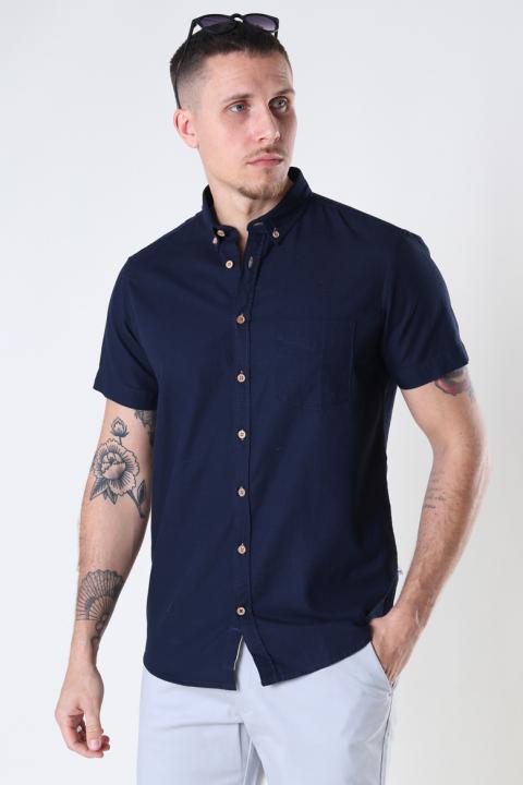 Kronstadt Johan seersucker s/s shirt Navy