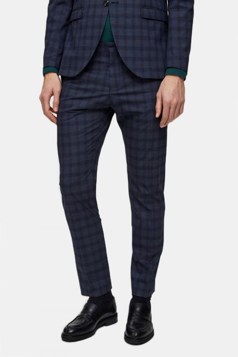 Køb Selected Slim-Mylo Logan Pants Check Navy Blue