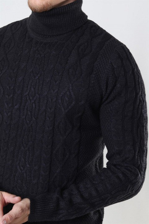 Only & Sons Rigge 3 Cable Roll Neck Strik Black