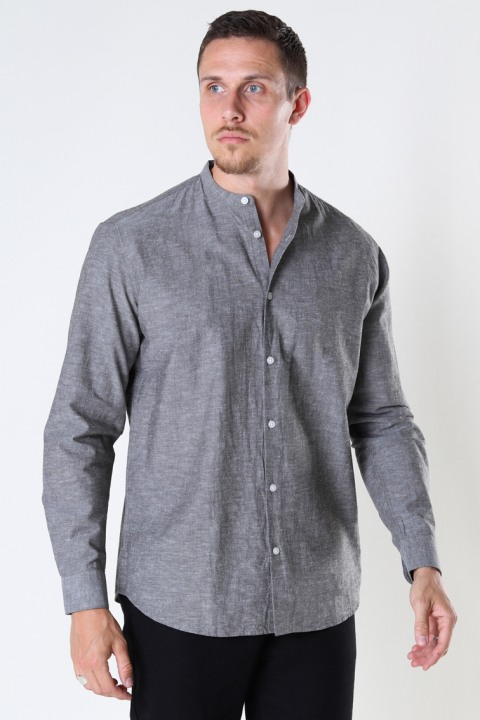 Selected SLHREGNEW-LINEN SHIRT LS CHINA W Black Olive