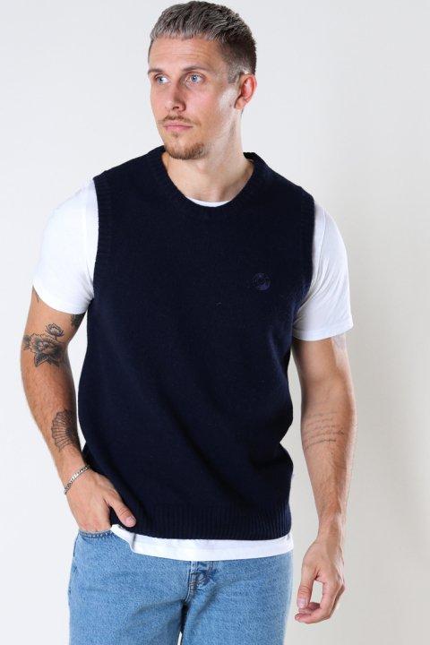 Woodbird Karl Wool Vest Navy