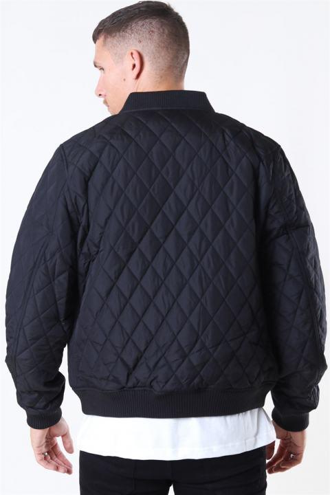 Diamond Quilt Nylon Jacket Black