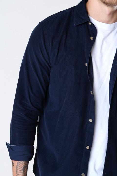 Jack & Jones JJKENDRICK CORD SHIRT LS Navy Blazer /SLIM