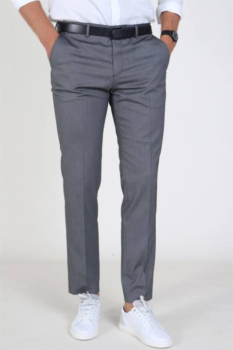 Køb Selected Slim Mylo Logan Structure Pants Dark Grey Melange