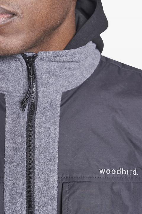 Woodbird Strukt Fleece Vest Dark Grey
