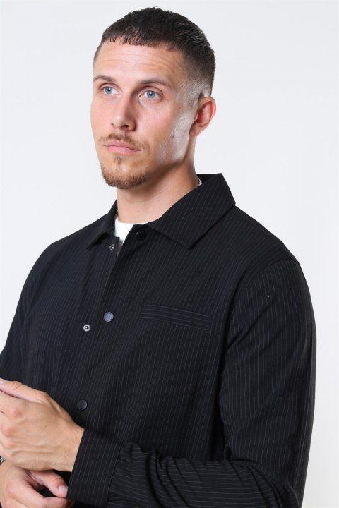 WoodBird Brenti Stripe Skjorte Black