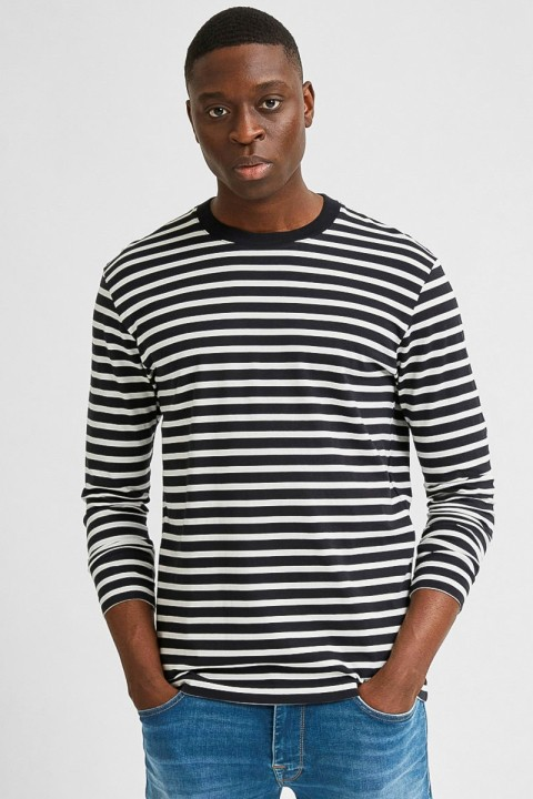 Selected SLHRELAXCOLMAN200 LS O-NECK TEE S Black Egret