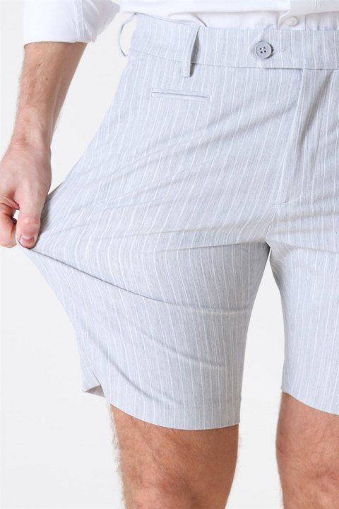 Les Deux Como Light Pinstripe Shorts Grey Melange/Off White
