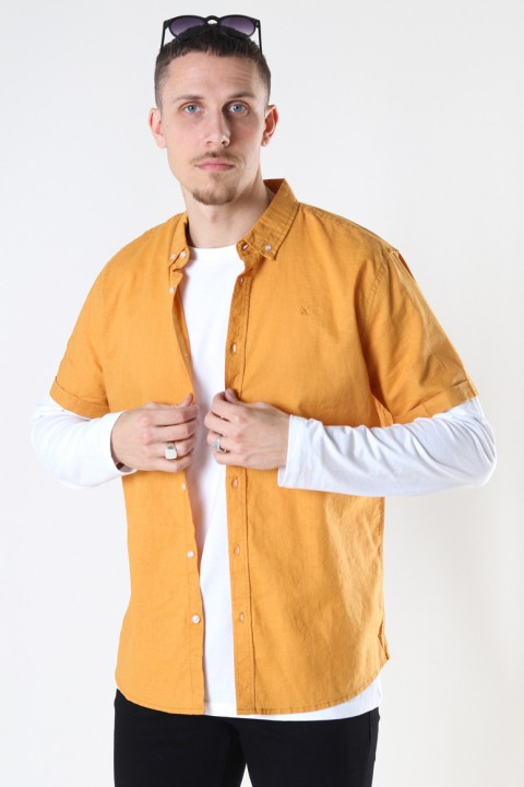 Clean Cut Copenhagen Cotton / Linnen Shirt S/S Pale Orange