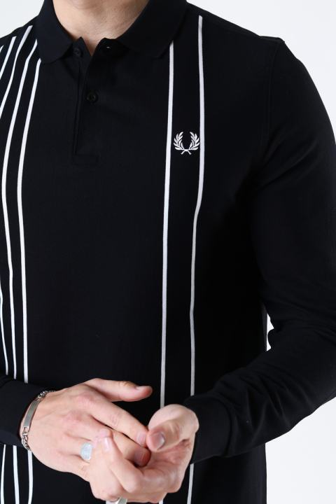 Fred Perry Refined pique striped polo Black