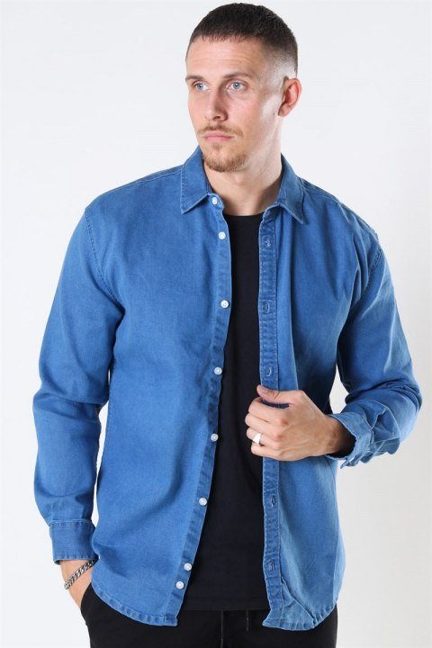 Køb Denim Project Lenny Denim Skjorte Light Blue