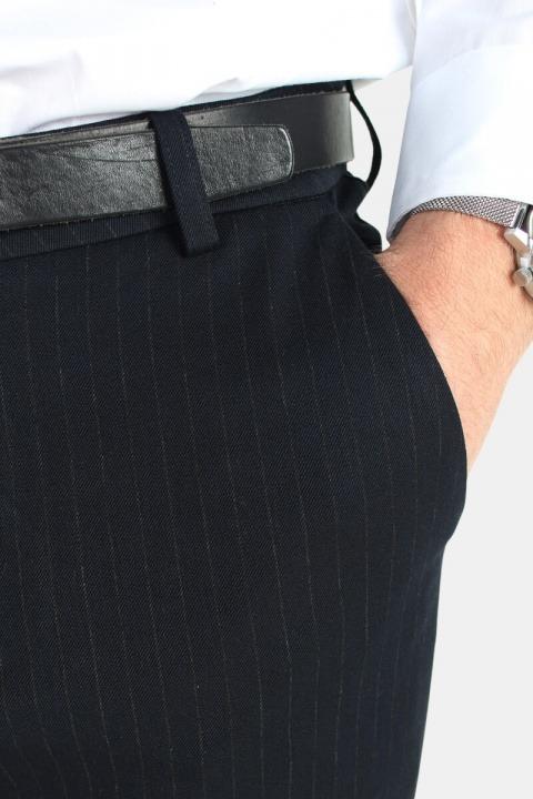 Les Deux Como Pinstripe Suit Pants Navy/Light Brown