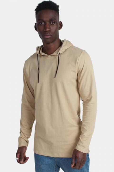 Bilde av Basic Brand Hooded T-skjorte Sand