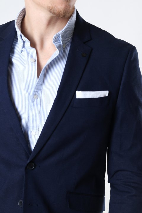 Clean Cut Copenhagen Cotton Linen Blazer Navy