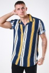 Only & Sons Vilas S/S Reverse Viscose Skjorte Golden Spice Stripes