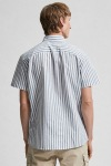 Selected SLHSLIMNEW-LINEN SHIRT SS CLASSIC W Smoke Green Stripes