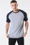 Basic Brand Raglan T-shirt Oxford Grey/Heather Black