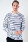 Kronstadt Timmi Organic/Recycled L/S stripe tee White / Navy