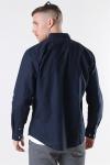Clean Cut Cotton Linen Skjorte Navy
