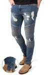 Liebhaveri Malle Biker Zip Jeans Mid Blue