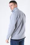 Basic Brand Quarter Zip Sweat Oxford Grey
