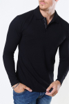 Muscle Fit Polo LS Black