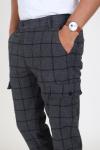 Les Deux Como Wool Check Cargo Pants Charcoal/Black