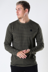 Kronstadt Timmi Organic/Recycled L/S stripe tee Army / Black
