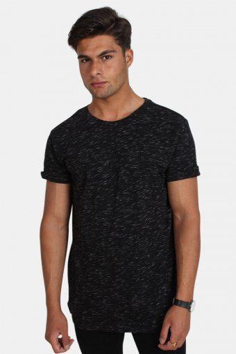 TB1576 Space Dye Turnup T-shirt Black/White