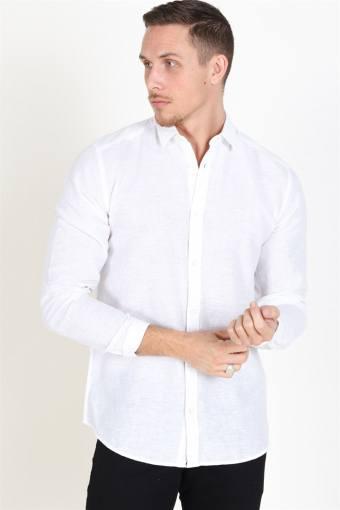 Caiden LS Solid Linen Skjorte White