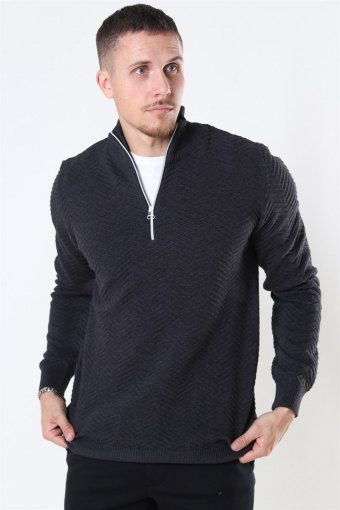 Carlo Half Zip Strik Charcoal